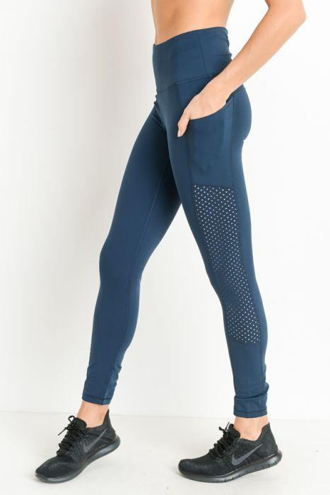 9bbf22a41ce8a6 Highwaist Shirred Leggings with Perforated Mesh Panels. Hover to zoom