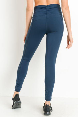 fb618dd3e90865 ... Image of Highwaist Shirred Leggings with Perforated Mesh Panels ...