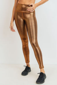 Highwaist Foil Scale Print Full Leggings - Gold