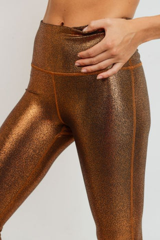 Image of Highwaist Foil Scale Print Full Leggings - Gold