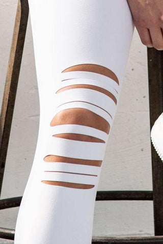 Image of Highwaist Shredded Knee Laser-Cut Leggings