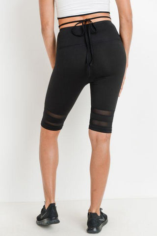 Highwaist Double Mesh Band Short Leggings