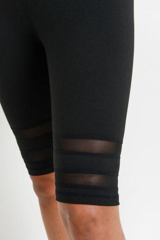 Image of Highwaist Double Mesh Band Short Leggings