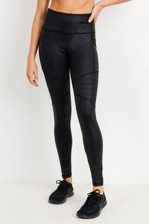 Highwaist Foil Moto Pocket Leggings