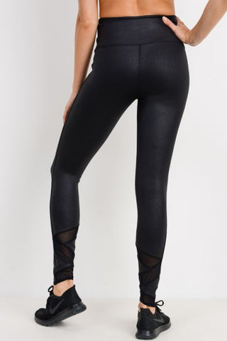 Image of Highwaist Foil Zig-Zag Mesh Leggings