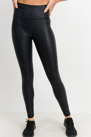 Image of Moto Ribbed-Knee Highwaist Foil Leggings