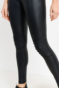 Moto Ribbed-Knee Highwaist Foil Leggings