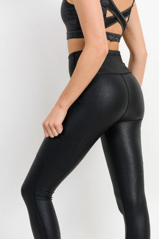 Image of Triple Zippered Pocket Highwaist Foil Leggings