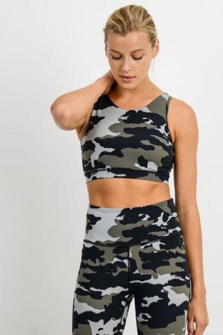 Jungle Camo Criss-Cross Strap Sports Bra