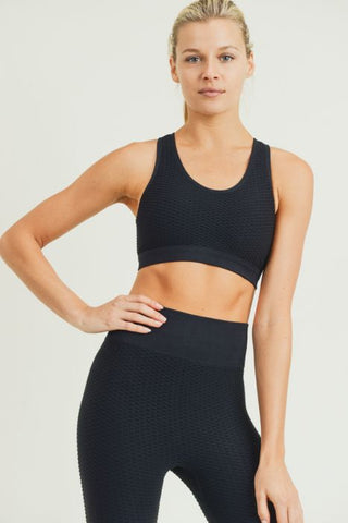 Image of Jacquard & Ribbed Cut-Out Back Seamless Sports Bra