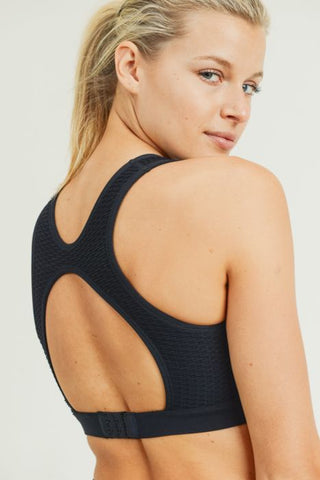 Jacquard & Ribbed Cut-Out Back Seamless Sports Bra