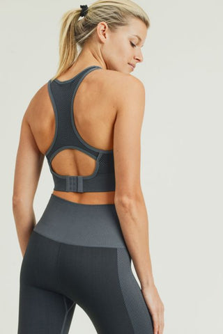 Image of Chevron Track Seamless Hybrid Racerback Sports Bra