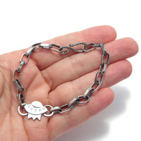 Sterling Silver Flying Saucer and Handmade Chain Bracelet (o) - Custom
