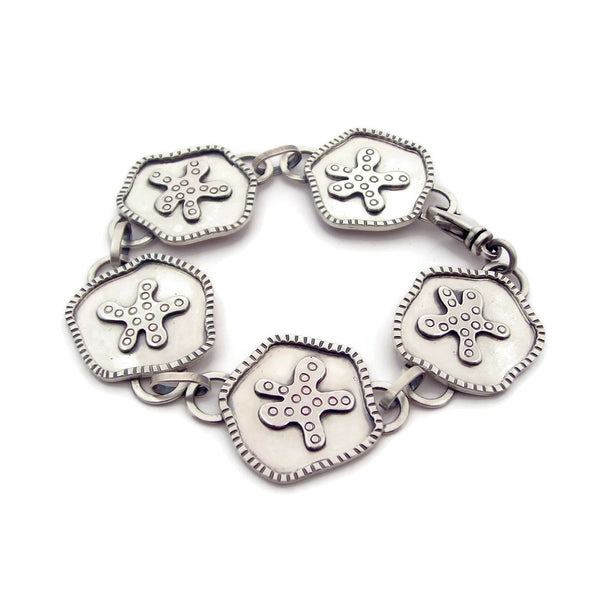 Sterling Silver Decorative Amoeba Link Bracelet - (u)