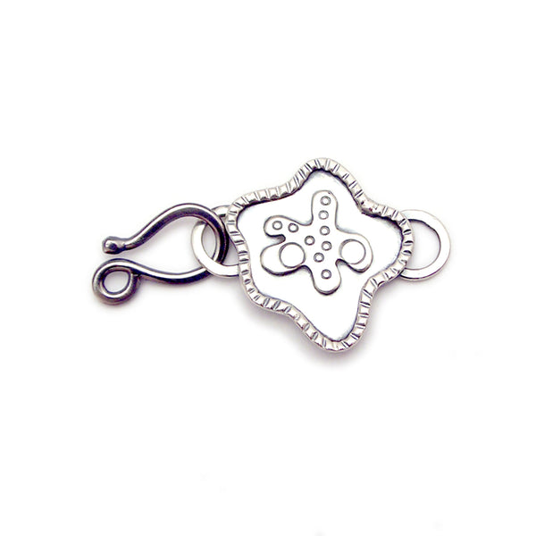 Decorative Sterling Silver Hook and Eye Clasp and Link - a