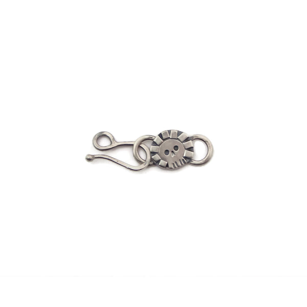 Decorative Sterling Silver Skull Hook Clasp and Link - g