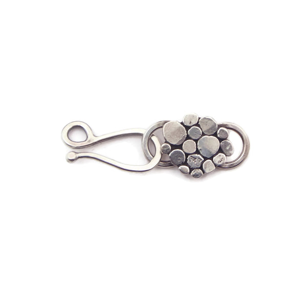 Decorative Sterling Silver Hammered Dot l Hook Clasp and Link - h