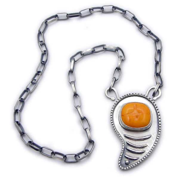 Orange Yellow Glass and Sterling Necklace (bb)