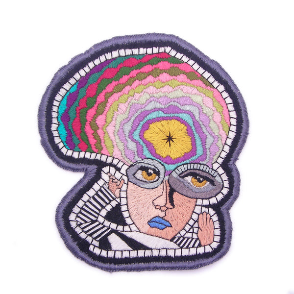 Collectible Sew On Patch, Hand Embroidered - Large Abstract Face