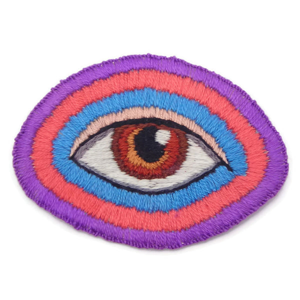 Brown Eye Patch, Sew On, Hand Embroidered (t)