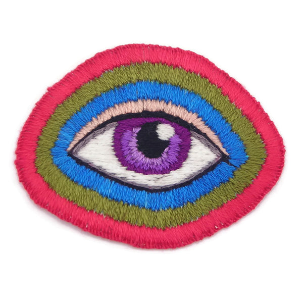 Purple Eye Patch, Sew On, Hand Embroidered (u)