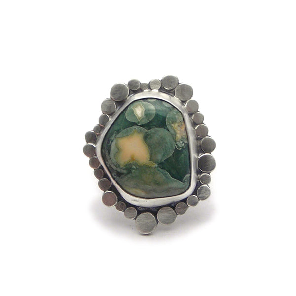 Sterling Silver and Stone Ring (i) - (adjustable)