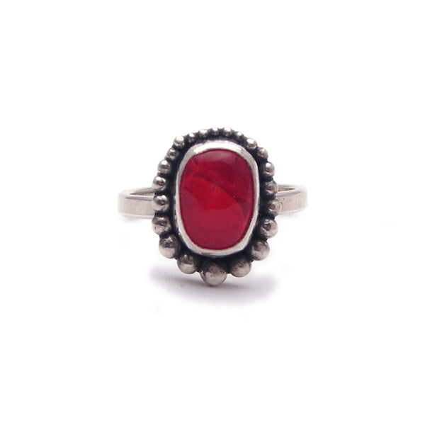 Red Glass Cabochon and Sterling Ring (m) Size 6.25