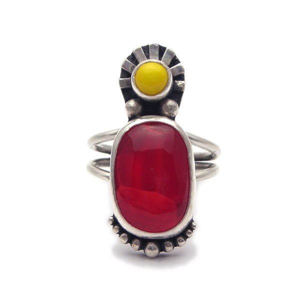 Statement Ring: Red Glass and Sterling Ring (n) Size 7.75