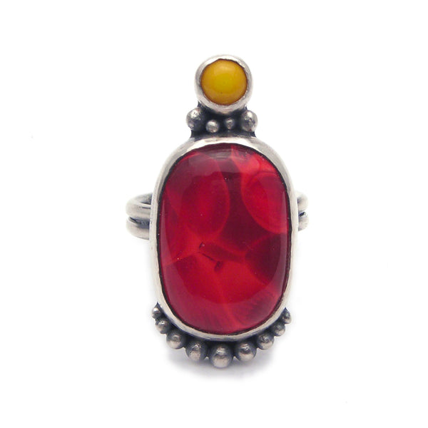 Statement Ring: Red and Yellow Glass and Sterling Ring (p) Size 6.25