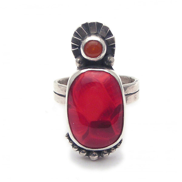 Statement Ring: Red and Orange Glass and Sterling Ring (r) Size 7