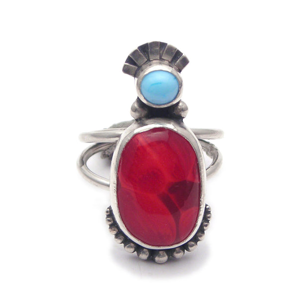 Statement Ring: Red and Turquoise Glass and Sterling Ring (s) Size 8