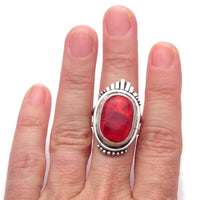 Statement Ring: Red Glass and Sterling Ring (t) Size 8.5