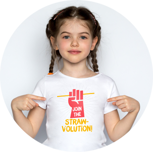 Girl pointing to text on her shirt saying join the straw-volution
