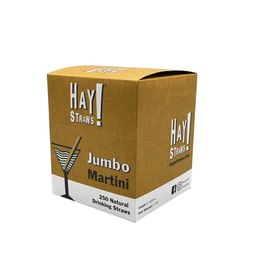 250 box of compostable jumbo martini size reed straws