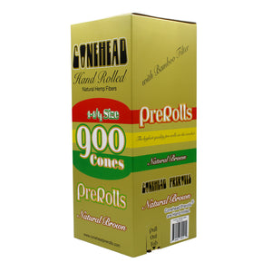 ConeHead Natural Brown 1 1/4 Size Hand Rolled Premium Hemp Cones with Bamboo Filters
