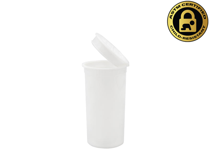 White Opaque 13 Dram GriploK Child-Resistant Pop Top Bottle
