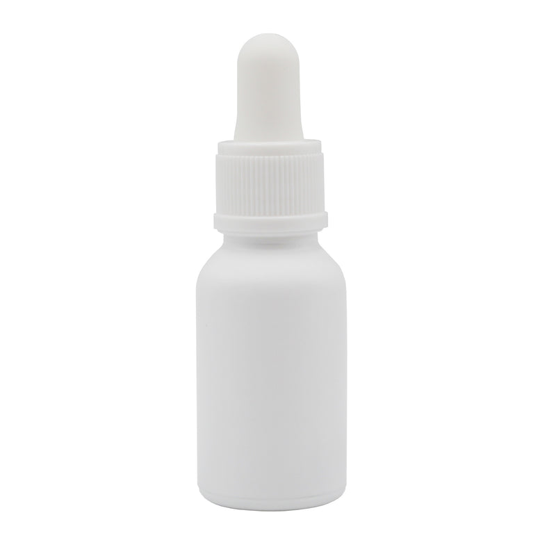15ml (.5oz) White Glass Boston Round Dropper Bottle with White Opaque Non Child-Resistant Glass Pipette