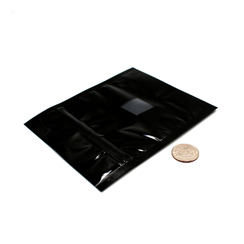 1/2oz (14g) Black Opaque Mylar/High-Barrier Bags with UV-Resistant Window (Comparison Picture)