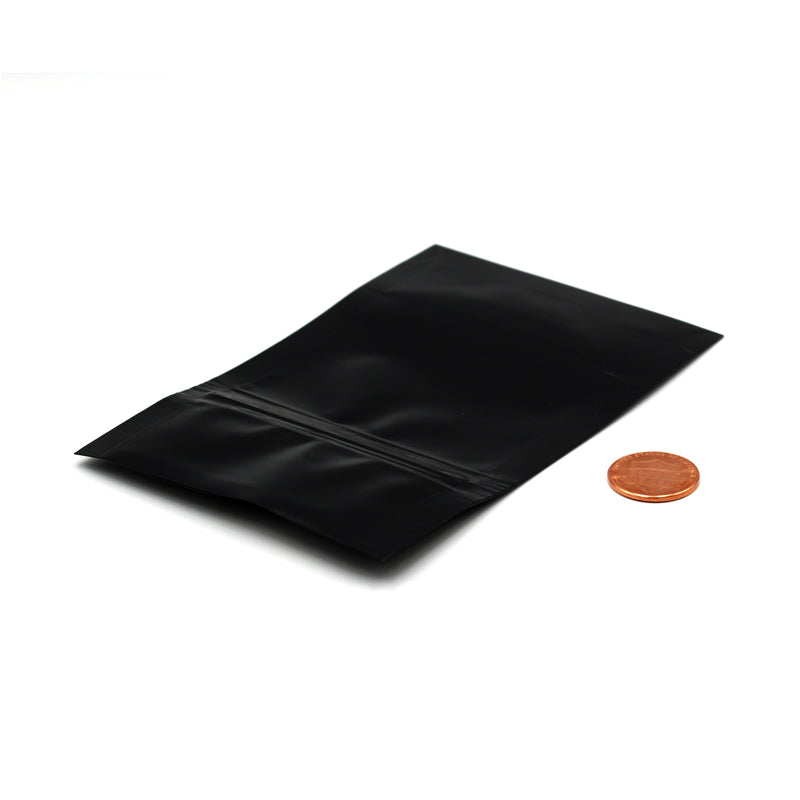 1/8oz (3.5g) Black Opaque Mylar/High-Barrier Bags with Zipper (Comparison Picture)