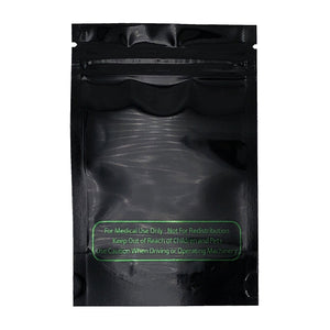1/8oz (3.5g) Black Vista Mylar/High-Barrier Bags with UV-Resistant Clear Side & Medical-Text