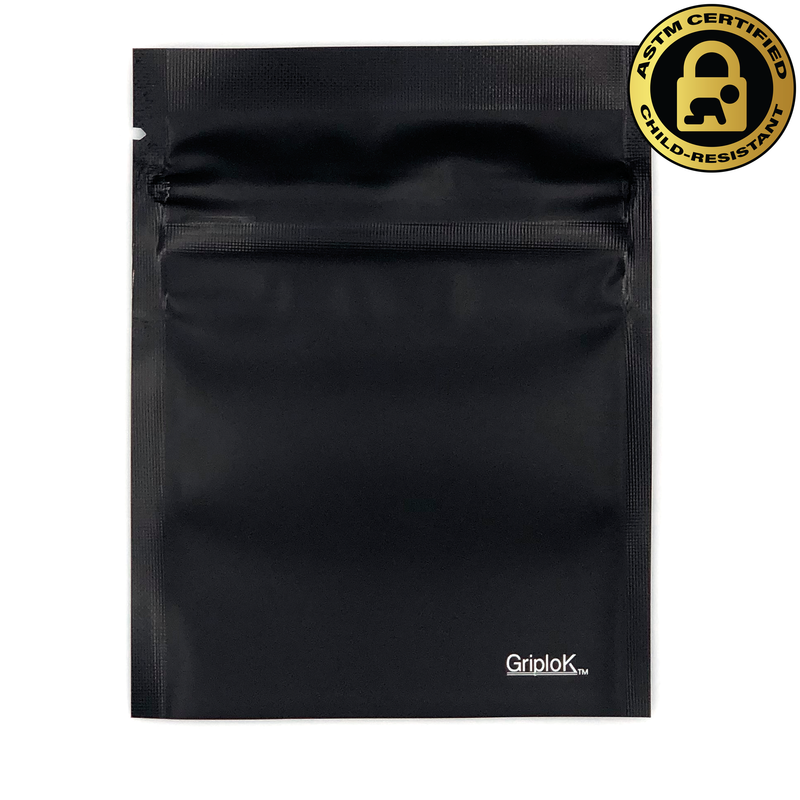 "1g Matte Black/Clear (3.5""x4.5"") GriploK Child-Resistant Bags (0.20/Unit)"