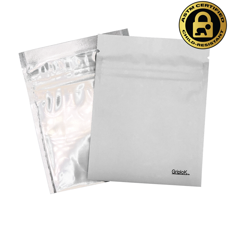 "1g Matte White/Clear (3.5""x4.5"") GriploK Child-Resistant Bags (0.20/Unit)"