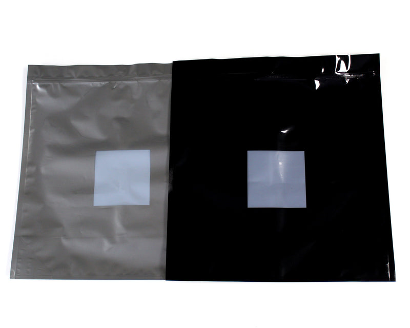 "15""x16""x6"" 1lb High-Barrier Cannabis Cargo Grower Bags in Opaque Black & Silver with Zipper & Window"