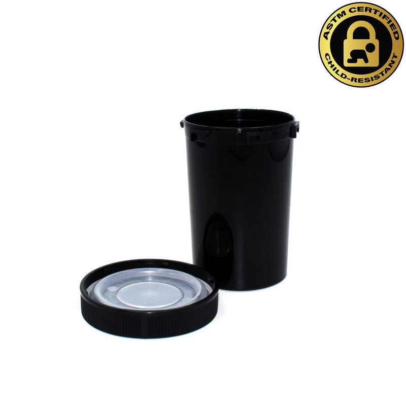 Black Opaque 20 Dram Push & Turn Vial with Child-Resistant Cap
