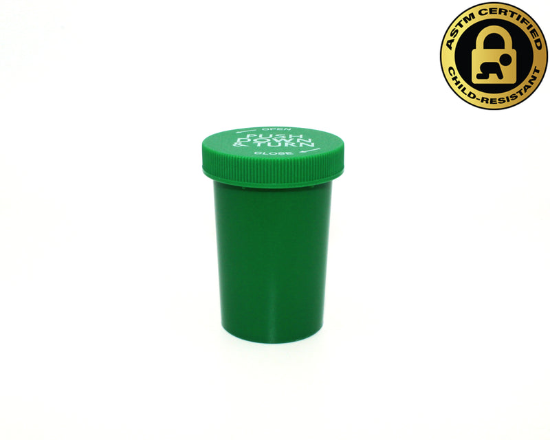 Green Opaque 20 Dram Push & Turn Vial with Child-Resistant Cap