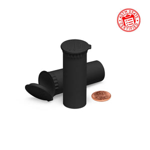 Opaque Black 63mm Child-Resistant Wide-Mouth Vape Cartridge Pop Top Tube
