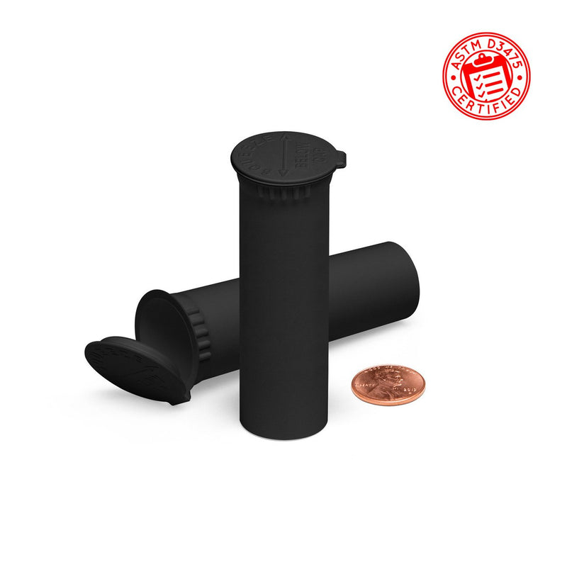Opaque Black 74mm Child-Resistant Wide-Mouth Vape Cartridge Pop Top Tube