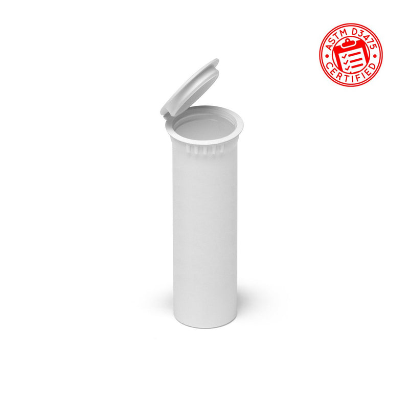 Opaque White 74mm Child-Resistant Wide-Mouth Vape Cartridge Pop Top Tube
