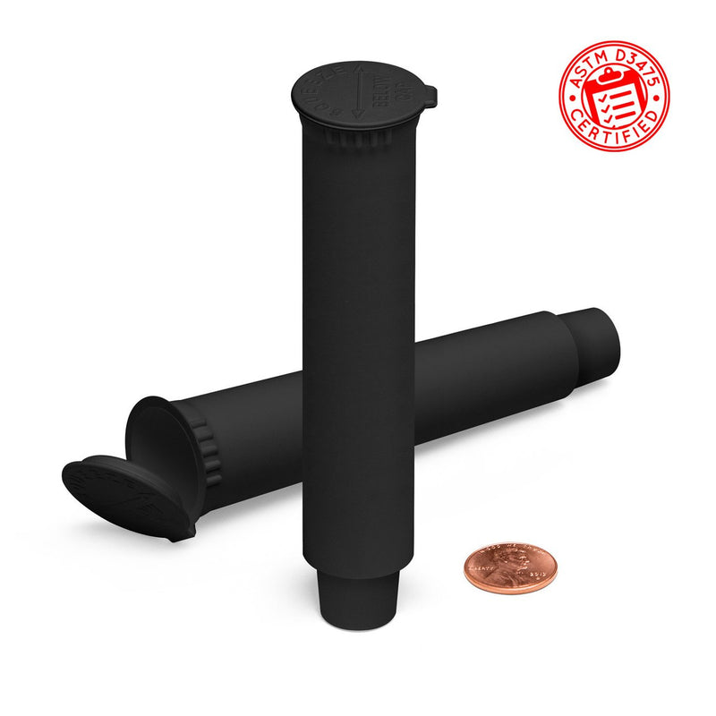 Black 109mm Child-Resistant Pre-Roll Pop Top Tube