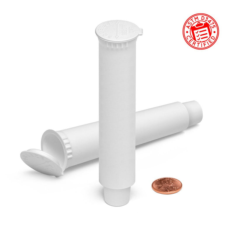 White 109mm Child-Resistant Pre-Roll Pop Top Tube